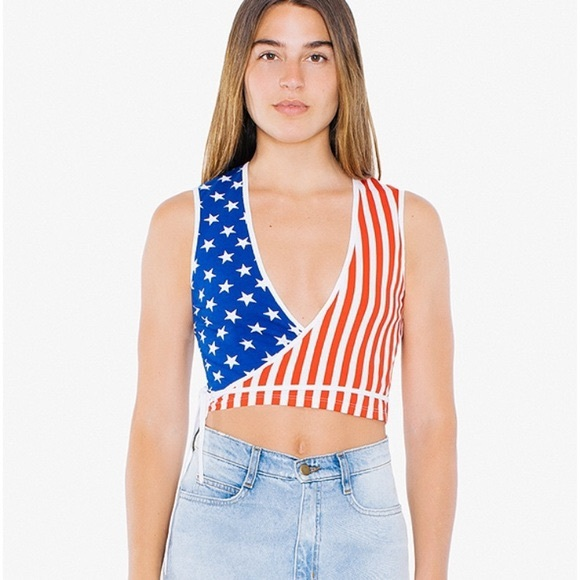 American Apparel Tops - American Apparel Flag Julliard Wrap Top